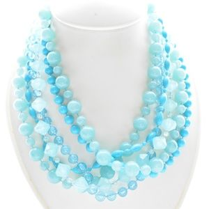Blue Statement Cluster of Beads Necklace
